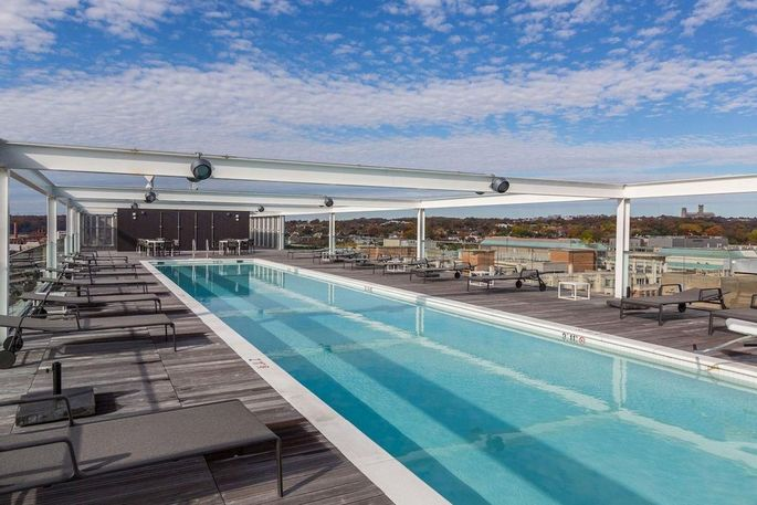 Harris' condo features a heated, rooftop pool.