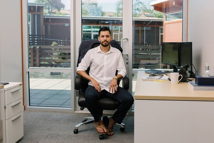 Brandon Boyd from FundLoans, a subsidiary of Drop Mortgage, in his office in Encinitas, Calif.