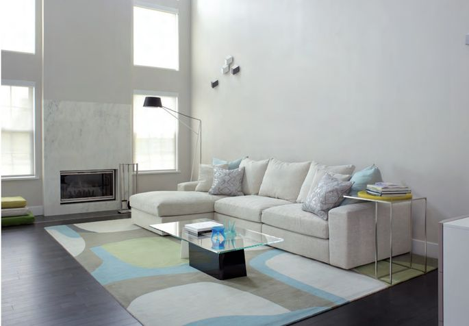 The dark floor provides contrast against the white walls.