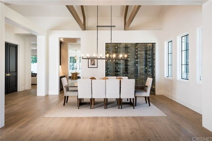 Formal dining room and glassed-in wine room