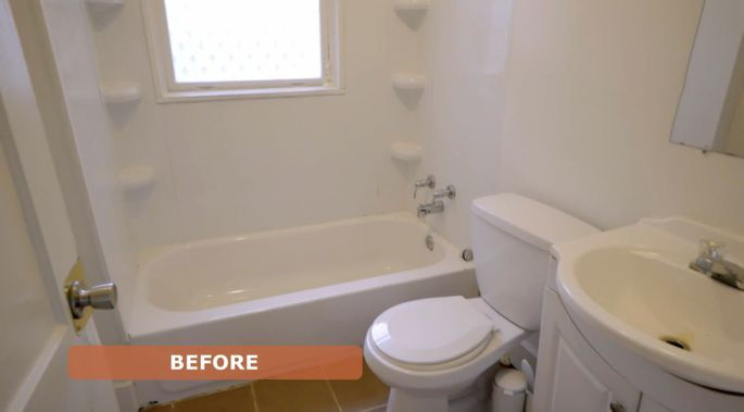 Before: Morgan wanted her bathroom to have a spa feel.