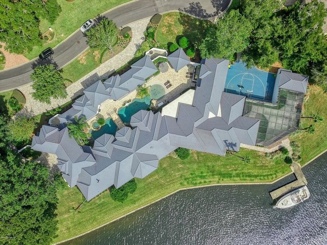 Jacksonville, FL waterfront house overhead