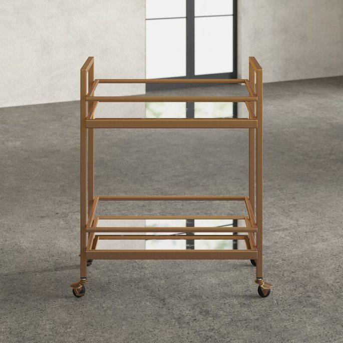 Mirrored shelves offer shine, and wheels let you cater in every room.