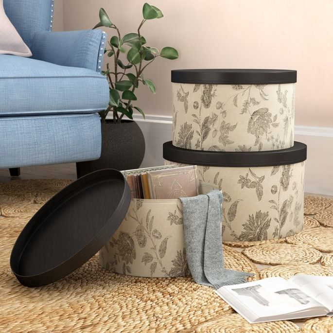 You'll be sitting pretty with a set of hat boxes as a side table.