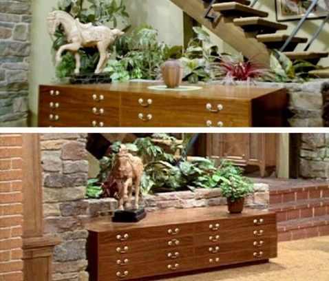 "Duplicates of this credenza, and the horse statue on top of it, are also among the items on the ""Brady Bunch"" scavenger hunt list."