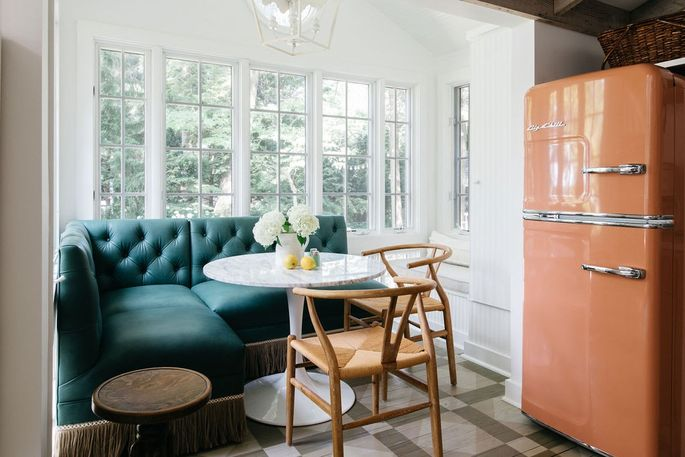 One thing we'd look forward to getting out of bed for: this breakfast nook, complete with a retro-style refrigerator from Big Chill.