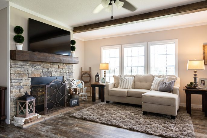 A large living room is key to any modern farmhouse design.
