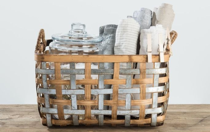 A woven basket is a must in the nursery.