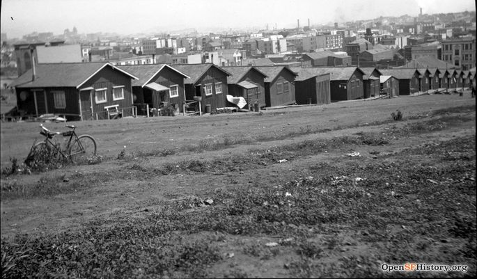 Earthquake shacks in Dolores Park (1906)