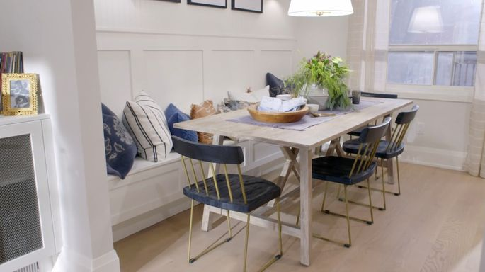 This dining space has lots of room and a casual feel.