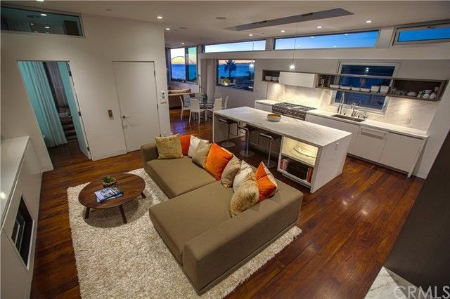 Open living and dining spaces