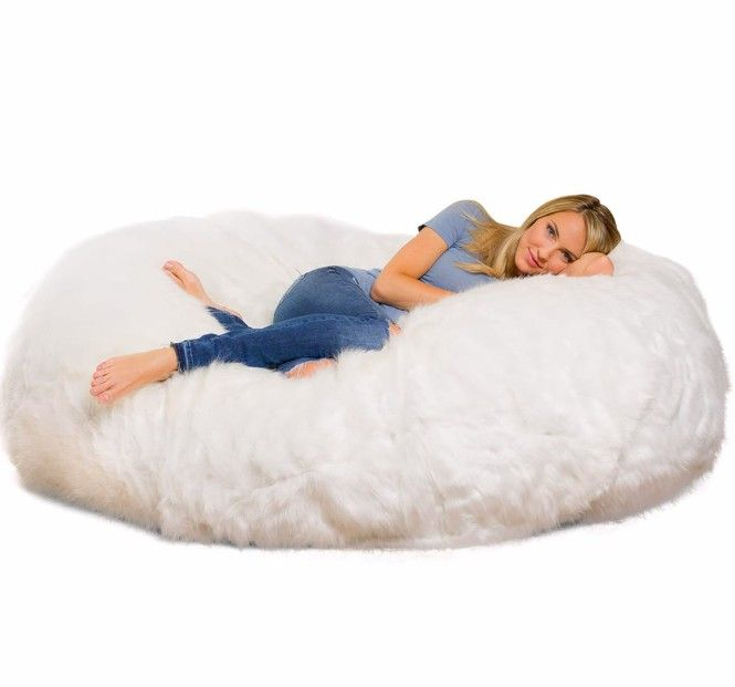 The Comfy Sack 6-foot lounger with a long faux-fur cover