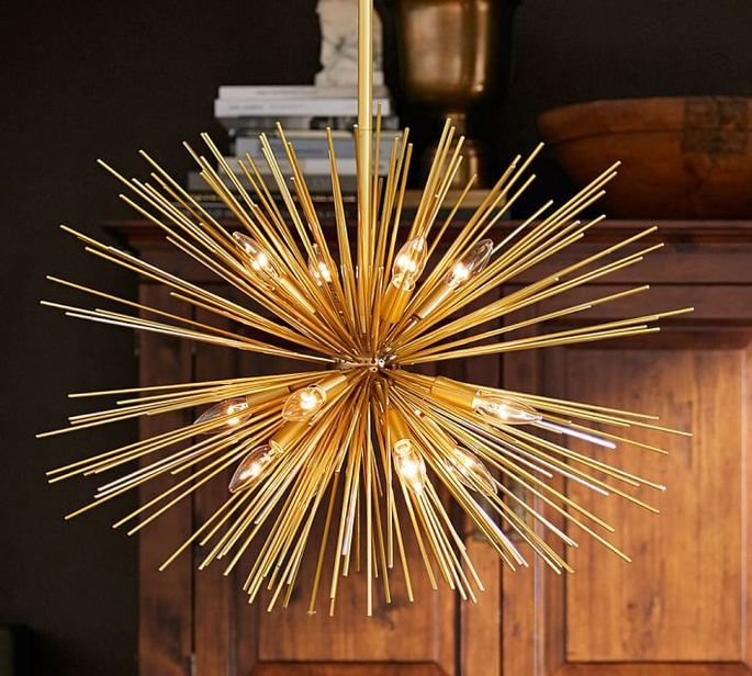A sputnik light fixture is the perfect addition to a retro-inspired dining room.
