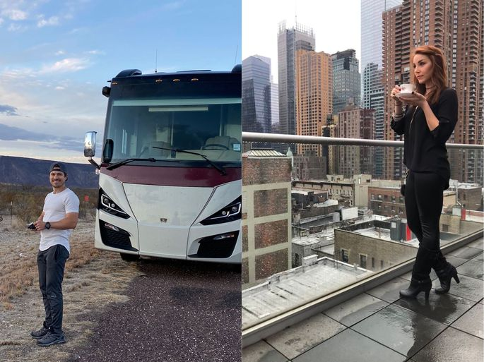 At left, Mike DeRose, in Texas en route to Arizona; at right, Jess Glazer in Manhattan.