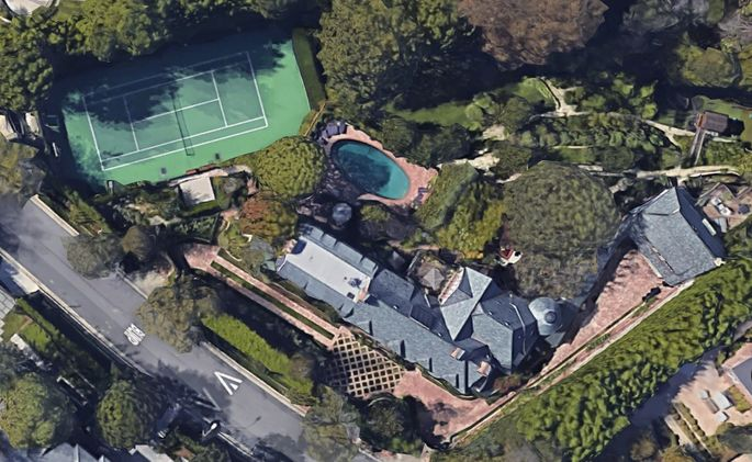 Satellite view of the mansion