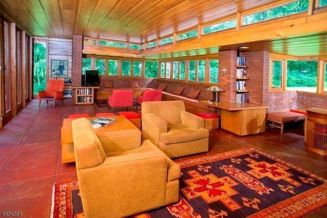 Family room in Frank Lloyd Wright house in NJ