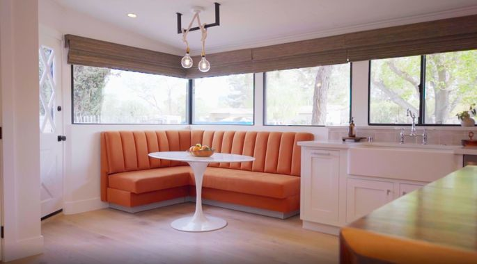 Talk about retro: The Scott brothers scored with this banquette, which was original to the house.