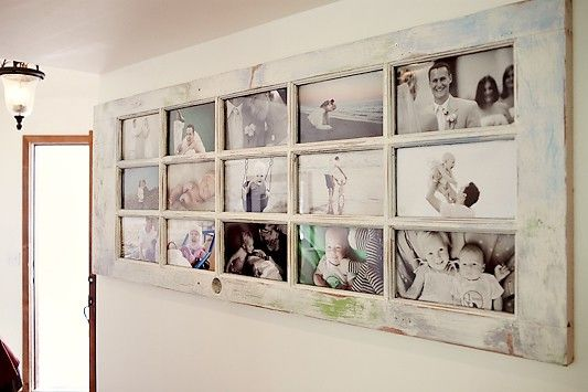 This old door shows off family photos beautifully.