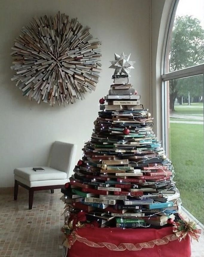 You can create a holiday tree out of anything you have lying around the house.