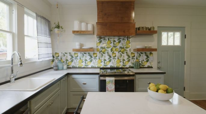 This backsplash is inexpensive and fun.