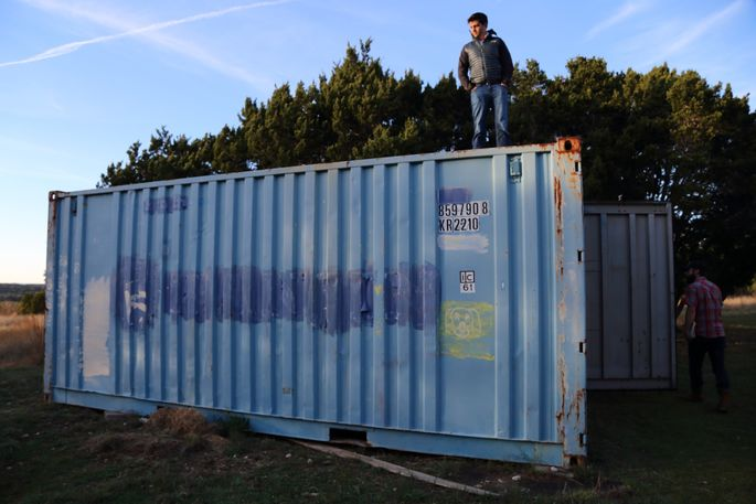 Before: This shipping container will be added to a bison shed to make a teen retreat.