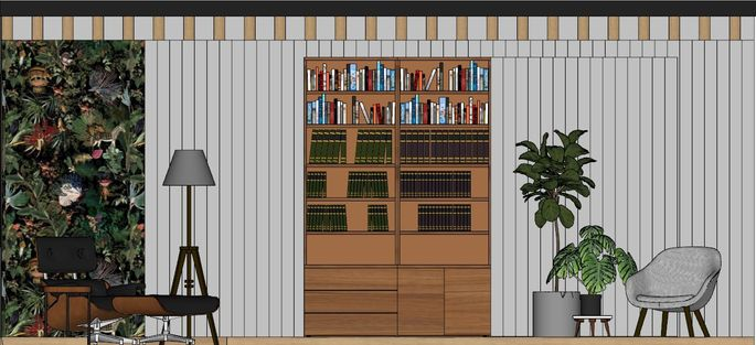 A bookcase panel can swing out to reveal an office space.