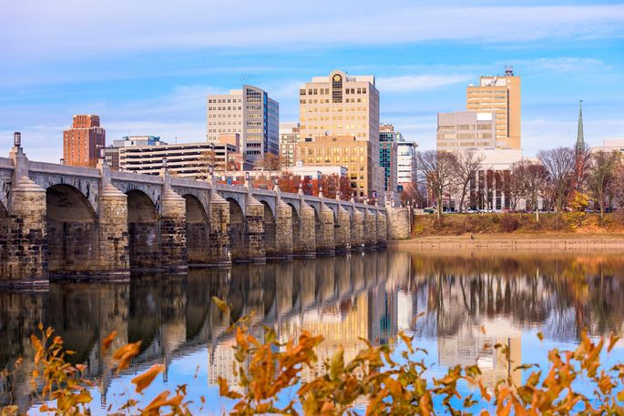 Harrisburg, PA, is located between Philadelphia and Baltimore.