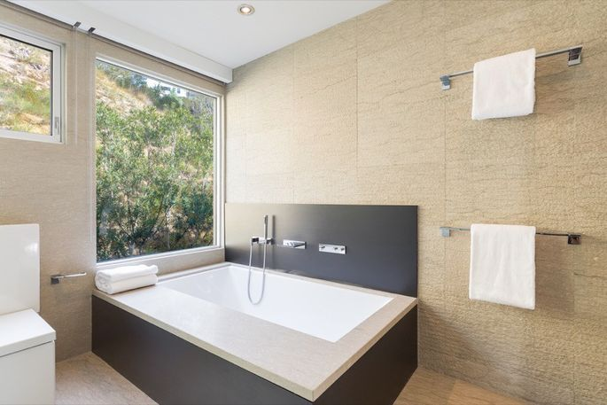 Chill out in this luxurious soaking tub.
