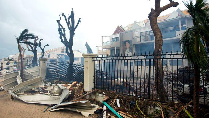 Buildings damagedby Hurricane Irma on the Caribbean island of Saint Martin