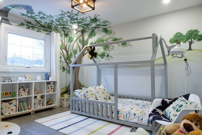 Now Noah has his own room, and doesn't have to sleep in the dining room.