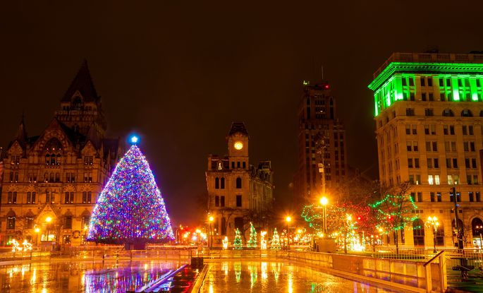 Clinton Square lit up for Christmas in Syracuse, NY.