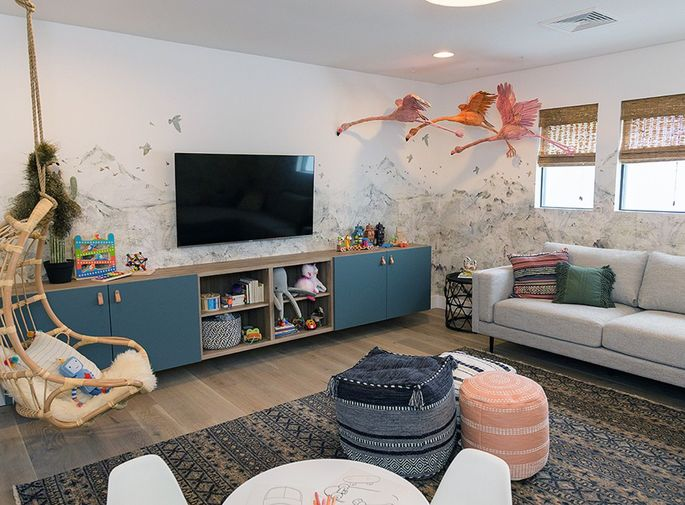 Poofs are ideal for a playroom.