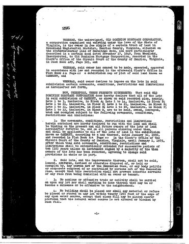 Covenants and restrictions in a 1950 deed
