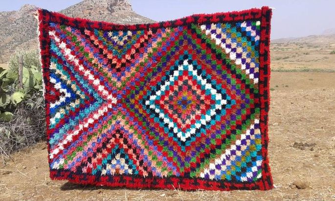 A traditional Boucherouite rug