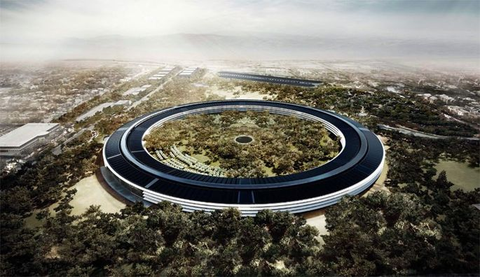 A rendering of Apple's new headquarters