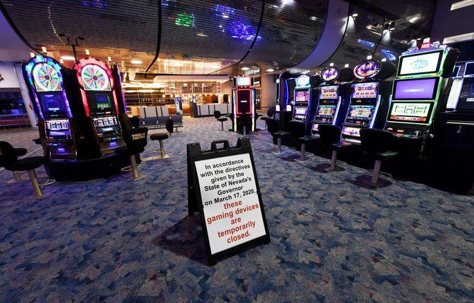 A gaming area is closed at McCarran International Airport in Las Vegas.