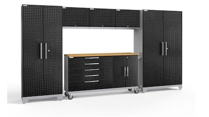 A set of lockers and cabinets holds bikes and other bulky equipment.