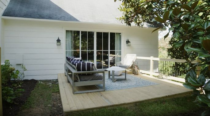 With this big door leading outside, Erin and Ben were inspired to build a beautiful deck on the side of the house.