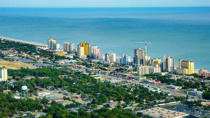 Aerial view of Myrtle Beach, SC