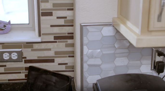 Charisma and Eric couldn't decide on one backsplash, so they installed two.