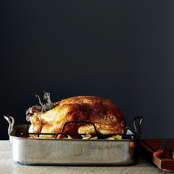 Classic stainless-steel roasting pan with nonstick rack from Mauviel