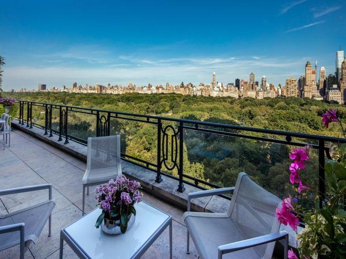 Balcony overlooks Central Park.