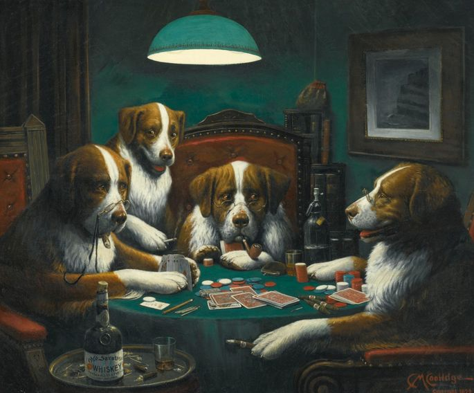 """Dogs Playing Poker,"" by Cassius Marcellus Coolidge"