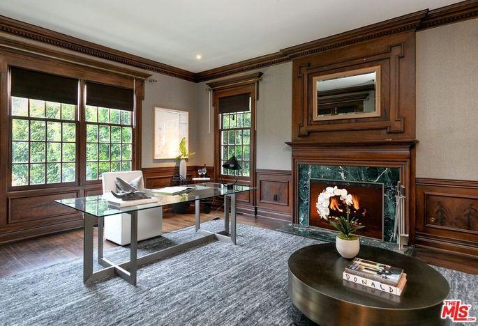 Wood-paneled office