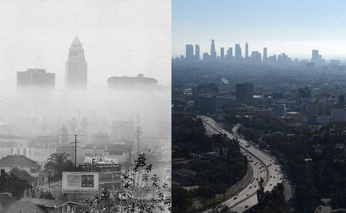 Los Angeles in 1956 (left) and 2017