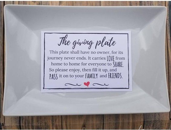 giving plate and poem