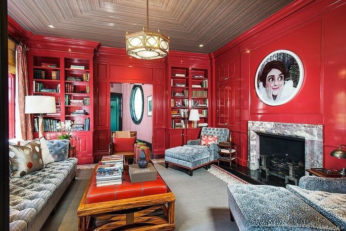 Red lacquered library