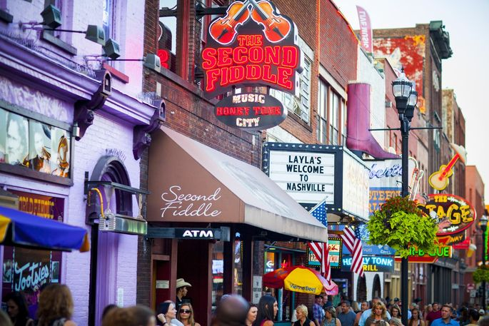 Lower Broadway in Nashville is famous for its country western music.