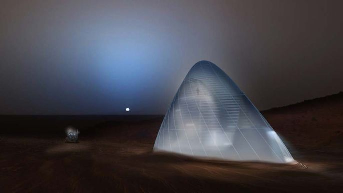 """Martian """"Ice House"""" concept:Constructed from the ice on Mars, it would shield inhabitants from radiation."""