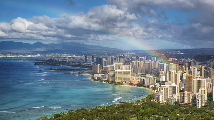 As if the Honolulu skyline weren't impressive enough: A rainbow completes the picture.